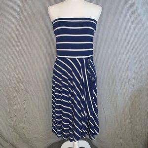 Ann Taylor Strapless Striped Waterfall Midi Dress